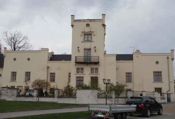 Zámek byl přestavěn z obytné budovy statku ve 2. polovině 18. století Kristiánem Josefem Paulinem von Gfässer, pánem na Bratronicích. Postupem let se na zámku vystřídalo několik majitelů. Za zmínku stojí Václav Škroup, jehož bratr František, hudební skladatel, údajně právě zde složil hudbu k hymně.  Za držení továrníkem Daňkem prošel zámek úpravou do podoby, jakou známe dnes. Počátkem 20. století na zámku s oblibou pobývala také operní pěvkyně Ema Destinová.