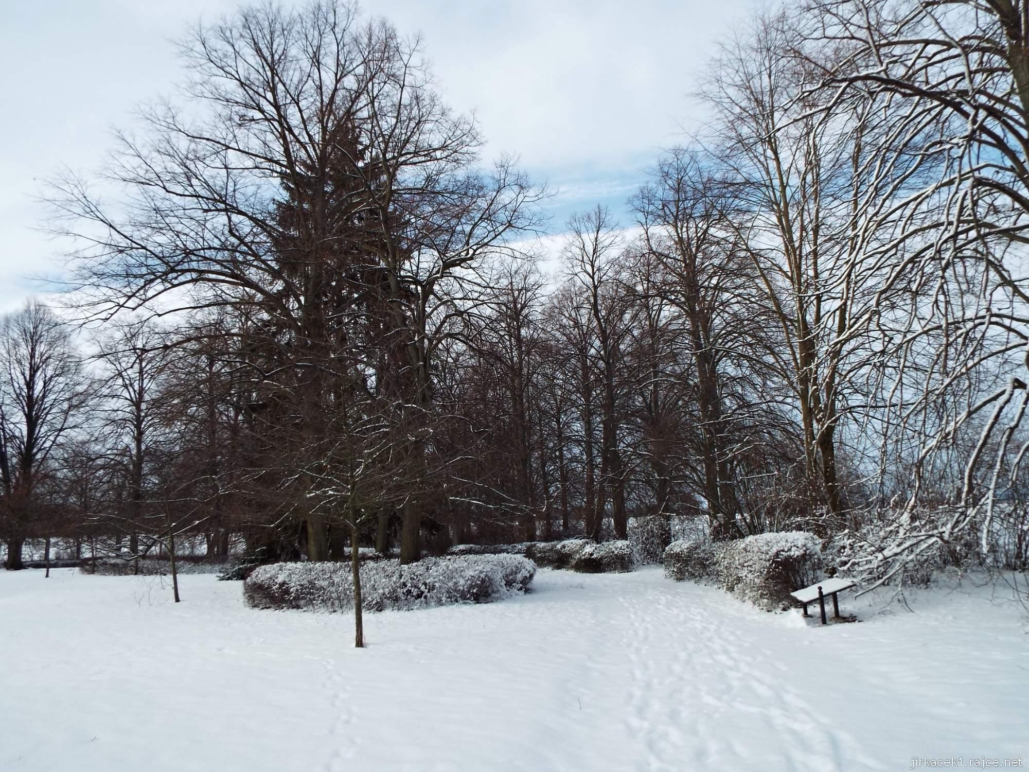 Růžový palouček - zasněžený park