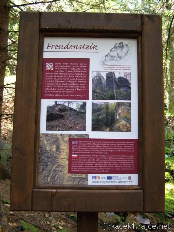 Hrad Freudenstein u Karlovic - nákres hradu a jeho historie na tabuli