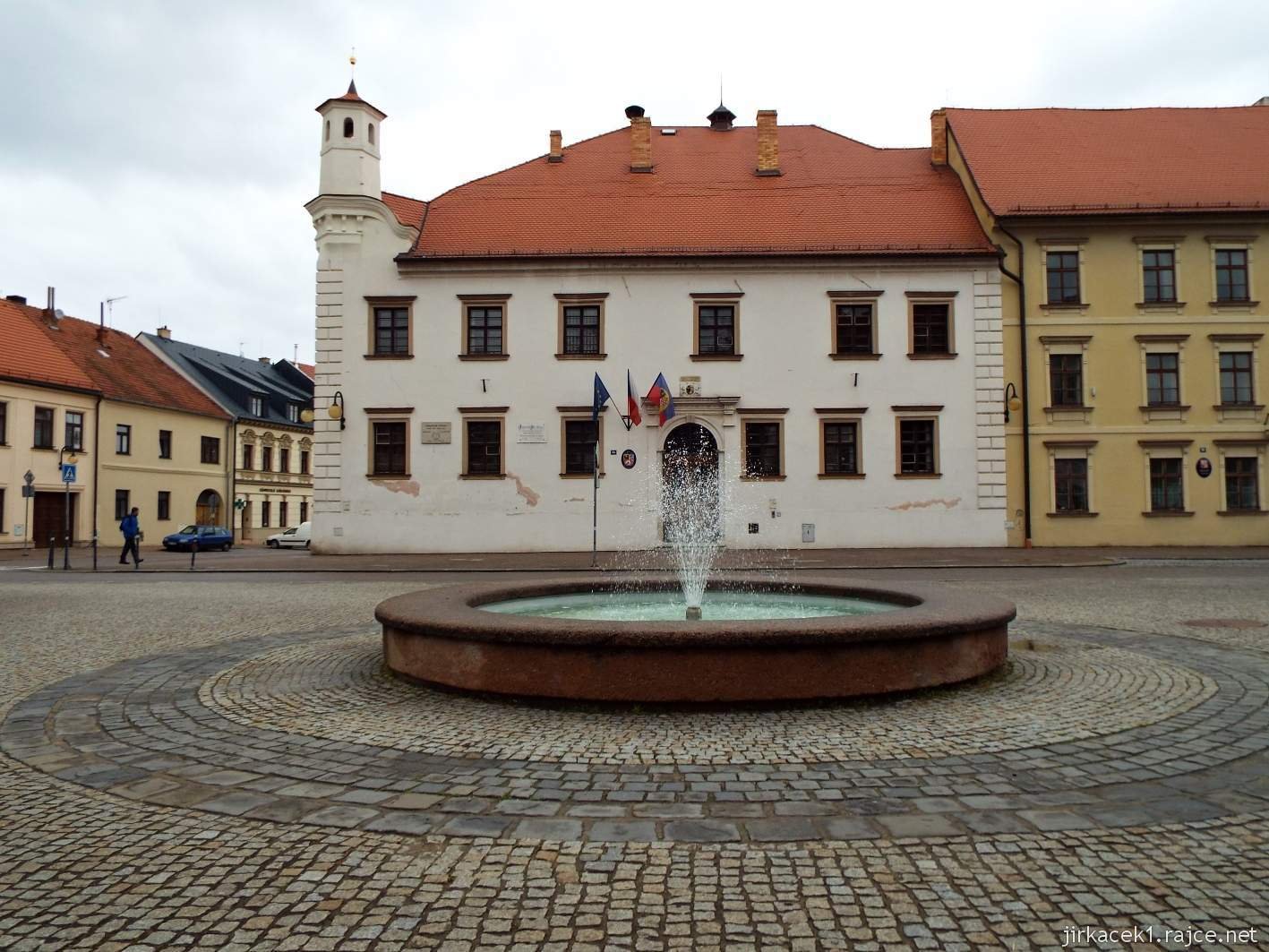Slavkov u Brna - Palackého náměstí - radnice a fontána