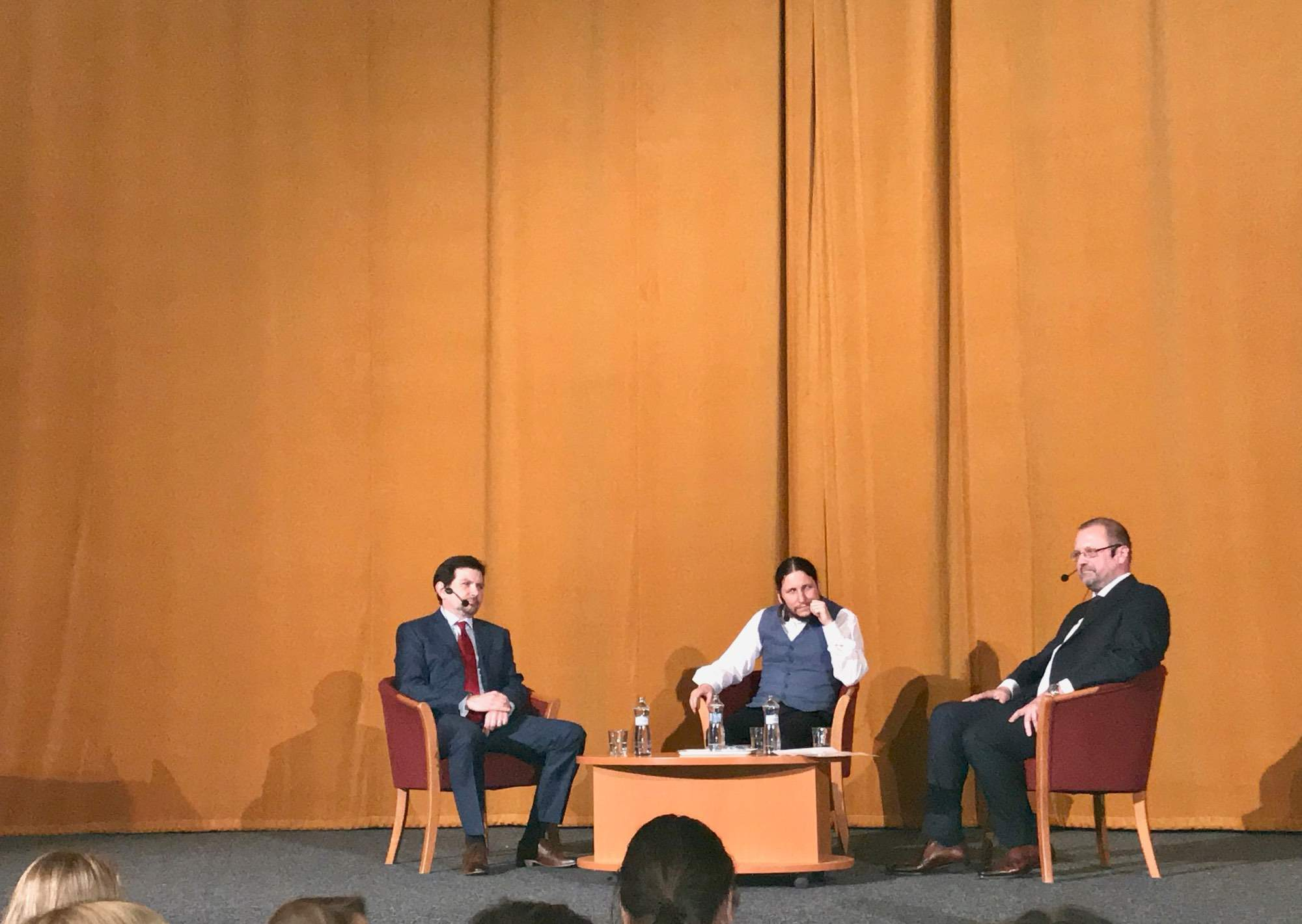 Účastníci debaty (zleva Martin Beneš, Ivan Foletti, Jaromír Leichmann). Foto: Vendula Kocandová