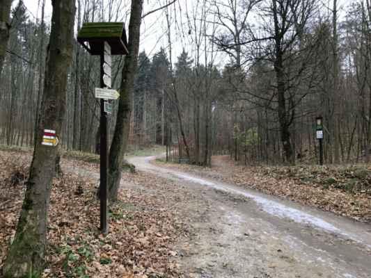 """""""Troják"""" - místo u Hostěnic, rozdělující původně území tří panství - Cestička mírně vpravo vede ke Kamennému žlíbku nad nímž pak vlevo zeje široká tlama jeskyně Pekárna."""